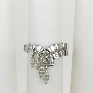 Baguette and Dangle CZ Ring